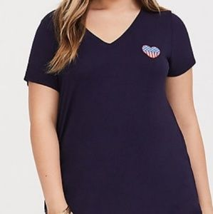 Torrid Navy Blue Flag Heart Embroidered Tee 2/2x